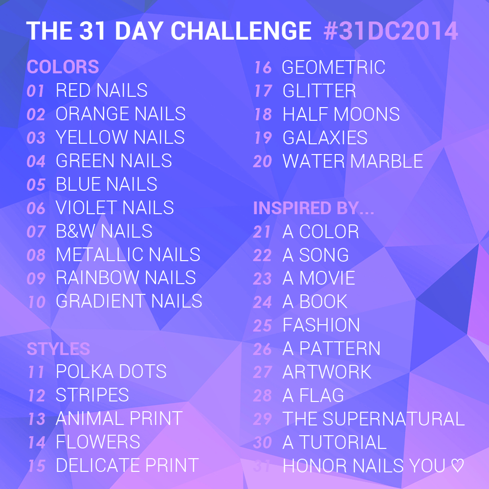 The 31 Day Nail Art Challenge 2014