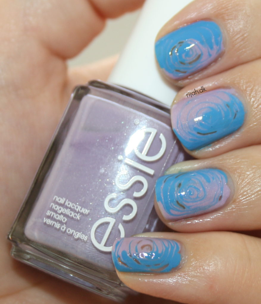 31DC2014 06: Violet Nails swirls dry water marble