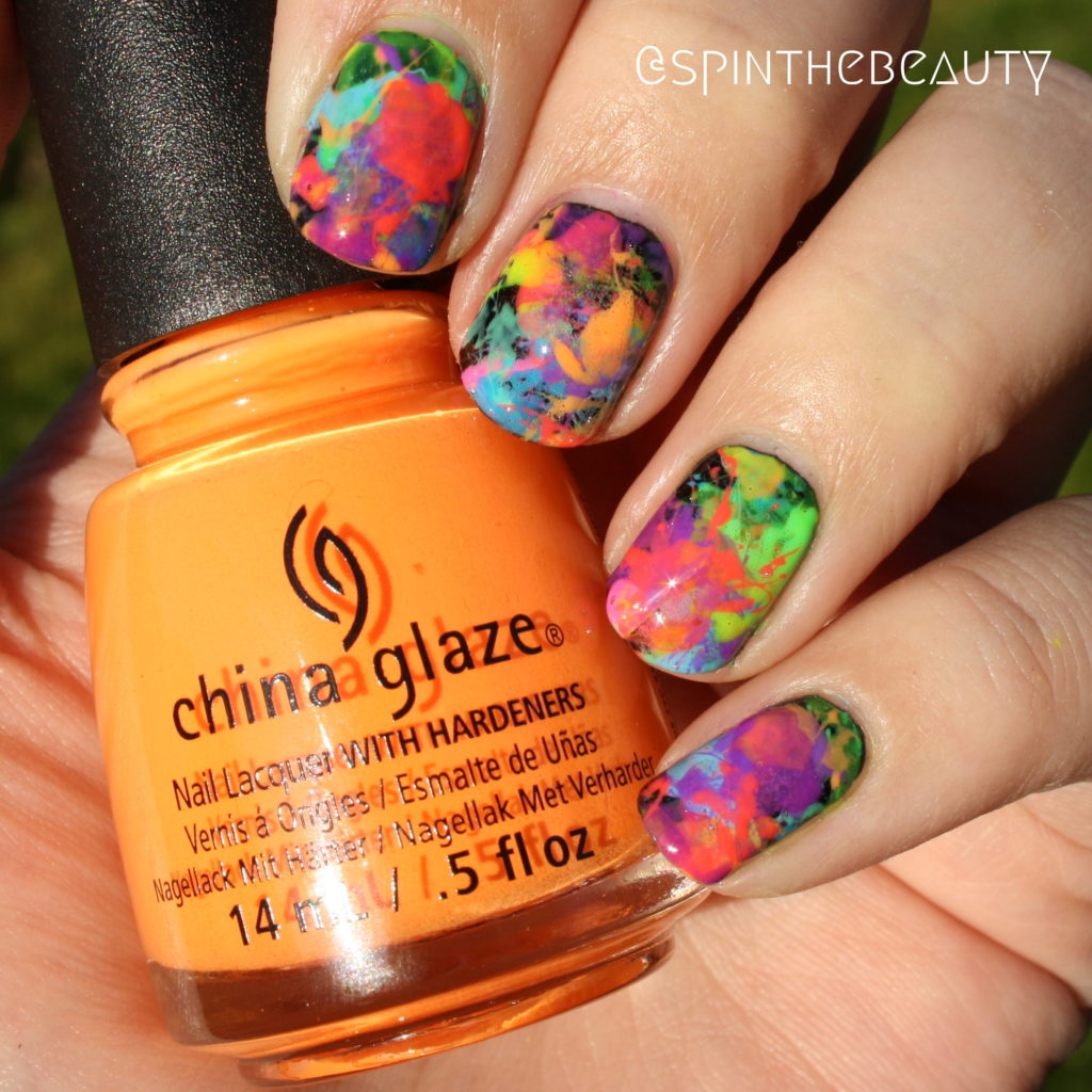 #WeekendOffNailArtChallenge – Splatter China Glaze Electric Nights Collection